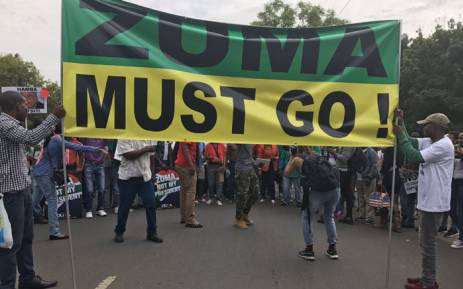 Anti-President Jacob Zuma marchers arriving at the Union Buildings. Picture: Kgothatso Mogale/EWN.