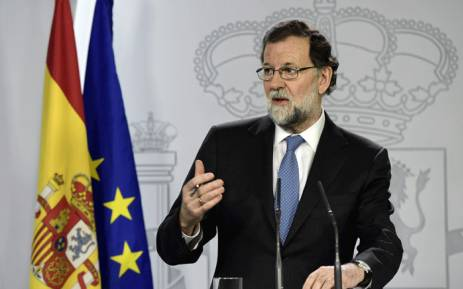 Spanish Prime Minister Mariano Rajoy gives a press conference after a cabinet meeting at La Moncloa Palace in Madrid, on 27 October 2017. Picture: AFP.