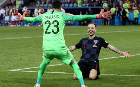 Croatia's Ivan Rakitic celebrates after his team beat Russia on penalties at the FIFA World Cup on 6 July 2018. Picture: @FIFAWorldCup/Twitter