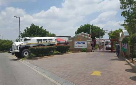 Outside the Gupta-owned ANN7 offices in Midrand. Picture: Barry Bateman/EWN.
