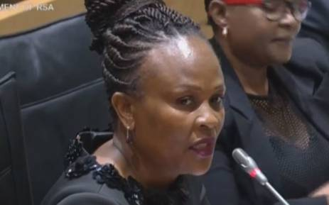 A screengrab of Public Protector Busisiwe Mkhwebane appearing before Parliament's Justice committee.