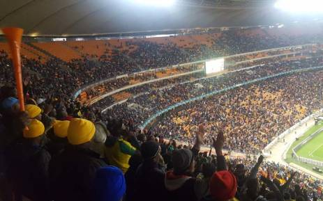 Fans are seen at the FNB Stadium for the Nelson Mandela centenary match between Mamelodi Sundowns and Barcelona. Picture: EWN Sport.