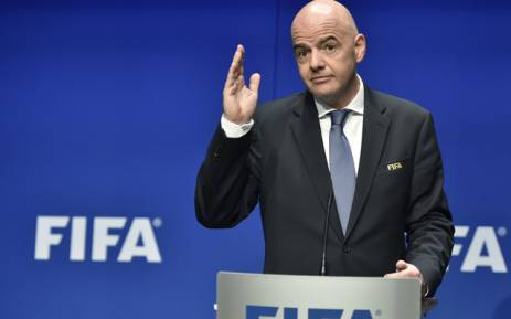 Fifa President Gianni Infantino gestures while speaking during a press briefing. Picture: AFP