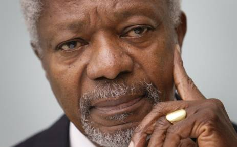 FILE: In this file photo taken on 06 December 2007 Former United Nations Secretary-General and president of the Global Humanitarian Forum, Kofi Annan gestures during a press conference in Geneva. Picture: AFP.
