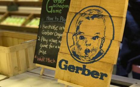 A board showing baby food brands Gerber by Nestle. Picture: Facebook.com