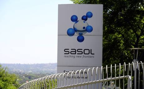 A file picture shows the logo of Sasol at its headquarters in Johannesburg. Picture: AFP.