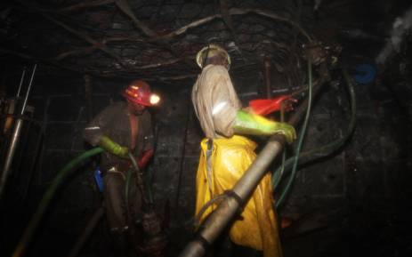Miners at work in a mine shaft. Picture: AFP