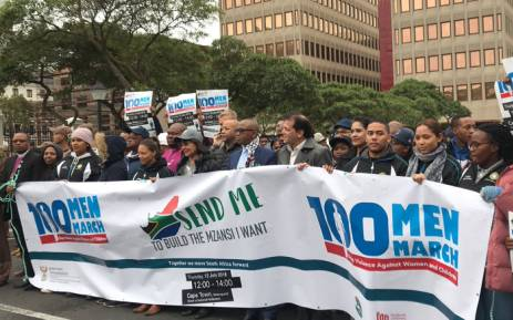 Hundreds of people have joined the 100 Men March in Cape Town on Thursday 12 July 2018 to highlight the scourge of violence against women and children. Picture: Kaylynn Palm/EWN