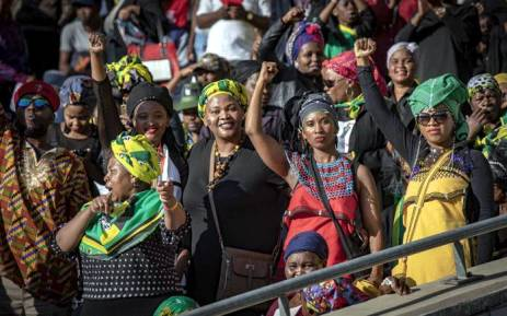 Supporters inside the Orlando Stadium for Winnie Madikizela-Mandela's funeral on 14 April 2018. Picture: Thomas Holder/EWN.