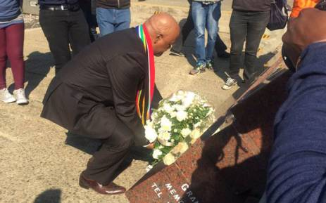 FILE: Ministers Jeff Rabede laying wreaths at the Hector Pieterson Memorial in Soweto. Picture: Masa Kekana/EWN.