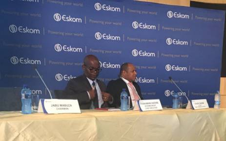 Acting Eskom CEO Phakamani Hadebe (left) at the announcement of the company's interim results on 30 January 2018. Picture: Gia Nicolaides/EWN