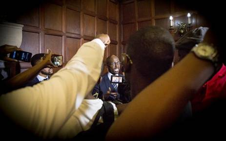 Newly appointed Finance Minister Malusi Gigaba was swarmed by the media shortly after the swearing in ceremony of President Jacob Zuma's new cabinet in Pretoria on 31 March 2017. Picture: Reinart Toerien/EWN.