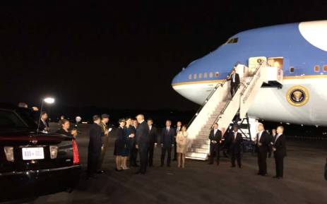 The plane carrying President Donald Trump arrives at Paya Lebar Air Base in Singapore. Picture: @Scavino45/Twitter.