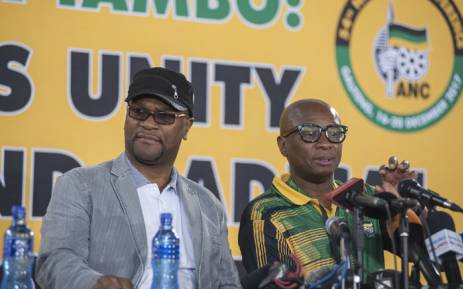 Nathi Mthethwa is seen as he delivers a press conference on the outcomes of the strategy and tactics commission at the ANC's 54th elective conference. Picture: Picture: Ihsaan Haffejee/EWN