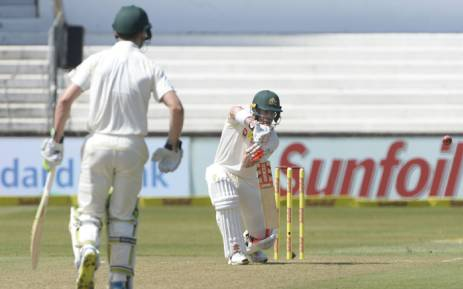 Australia's David Warner (right), seen with opener Cameron Bancroft, bat during the first Test against South Africa in Durban. Picture: @OfficialCSA/Twitter