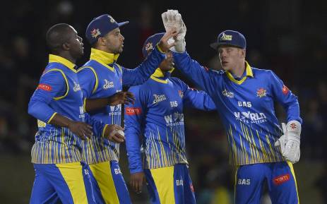 Cape Cobras players celebrate after taking a wicket against the Warriors. Picture: Twitter/@OfficialCSA