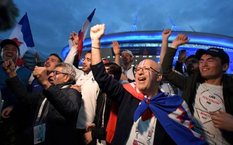 France's supporters celebrate France's 1-0 victory over Belgium during the semifinals of Russia 2018 World Cup football tournament outside the Saint Petersburg Stadium on 10 July 2018. Picture: AFP