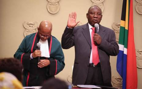 FILE: Newly-elected President Cyril Ramaphosa taking his oath of office on 15 February 2018. Picture: Bertram Malgas/EWN.