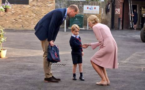 FILE: Britain's Prince George arrives for his first day of school at Thomas's Battersea with his father Prince William, the Duke of Cambridge. Picture: @KensingtonRoyal/Twitter