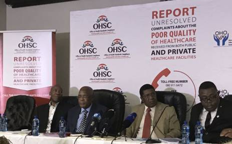 Health Ombudsman Professor Malegapuru Makgoba (left) joined by Health Minister Aaron Motsoaledi (second left) give feedback on the Life Esidimeni patients' deaths. Picture: Masego Rahlaga/EWN.