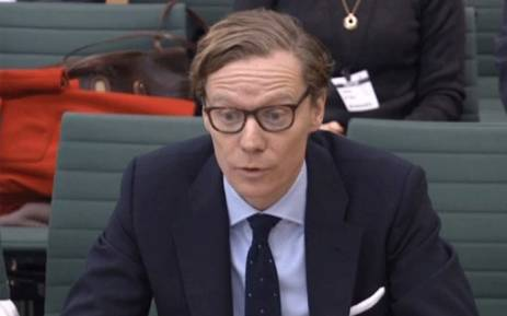 A video grab from footage broadcast by the UK Parliament's Parliamentary Recording Unit (PRU) on February 27, 2018 shows Chief Executive, Cambridge Analytica, Alexander Nix, giving evidence to the Digital, Culture, Media and Sport Committee of members of parliament on the subject of fake news at the Houses of Parliament in London on February 27, 2018. Picture: AFP.