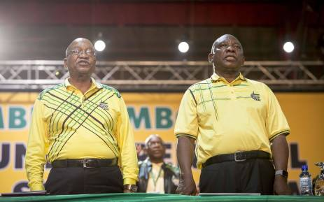 Jacob Zuma and Cyril Ramaphosa sing the national anthem at the ANC's 54th national conference on 16 December 2017. Picture: Thomas Holder/EWN.