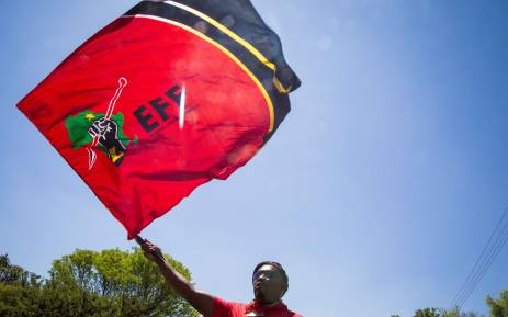 FILE: An Economic Freedom Fighters (EFF) member waves the party's flag outside the Israel Embassy in Pretoria during a free Palestine protest. Picture: Thomas Holder/EWN.