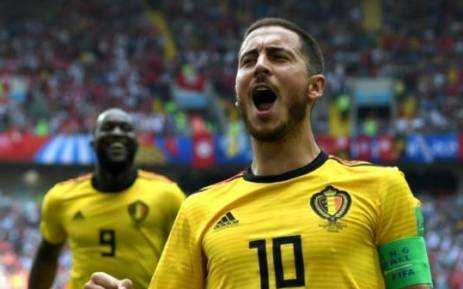 Belgium's Eden Hazard penalty during 2018 World Cup match against Tunisia. Picture:  Fifa World Cup Twitter