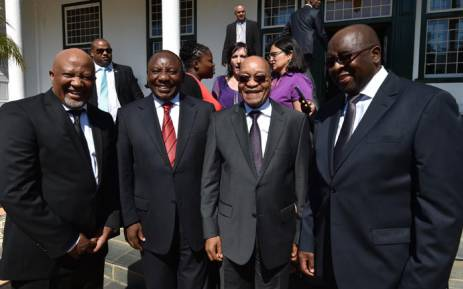 FILE: President Jacob Zuma flanked by Deputy President Cyril Ramaphosa, former Finance Minister Nhlanhla Nene and Deputy Minister of Finance Mcebisi Jonas outside Tuynhuys after the Budget Speech on 25 February 2015. Picture: GCIS.