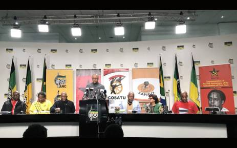 Leaders of the ANC-lead alliance seen during a media briefing following the two-day alliance political council meeting. Picture: @MYANC/Twitter