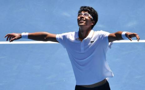 Chung Hyeon celebrates a win. Picture: @AustralianOpen/Twitter