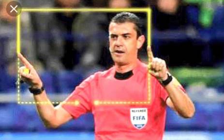 FILE: A referee calls for VAR viewing during a soccer match. Picture: Twitter.