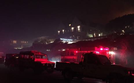 The 12 Apostles Hotels in Cape Town has been evacuated because of the raging fire. Picture: Ian Schnetler/CT Fire chief.