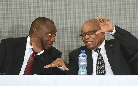 FILE:President Zuma and Deputy President Ramaphosa talking at the OR Tambo centenary in Kantolo. Picture: GCIS