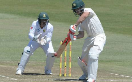 Australia's Mitchell Marsh in action before being caught by Hashim Amla at first slip. Picture:  @OfficialCSA/Twitter.