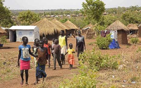 Refugee children from South Sudan walk in Bidibidi resettlement camp in the Northern District of Yumbe on 14 April, 2017. Picture: AFP.