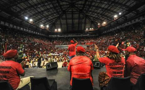 Economic Freedom Fighters leader Julius Malema addressing supporters during the party's election registration campaign in Johannesburg. Picture: @EFFSouthAfrica/Twitter.
