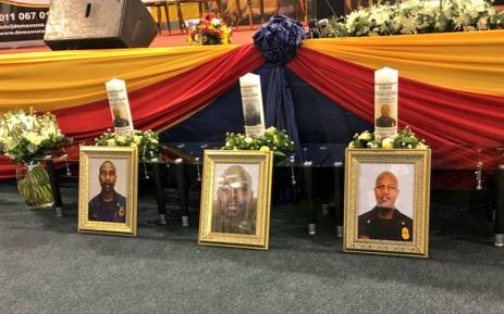 The memorial service for the three firefighters killed while fighting the Bank of Lisbon building fire in Johannesburg. Picture: Katleho Sekhotho/EWN