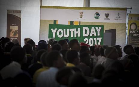 A Youth Day banner stands inside the tent at the Tshing sports ground in Ventersdorp where President Jacob Zuma gave his 2017 Youth Day address. Picture: Reinart Toerien/EWN.