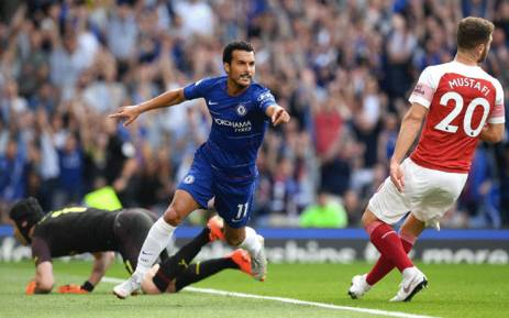 Chelsea's Pedro celebrates his goal against Arsenal during the London derby on 18 August 2018. Chelsea won the match 3-2. Picture: Facebook.