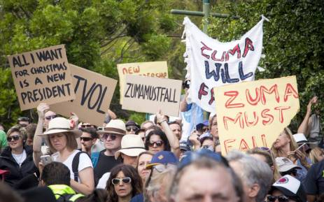 Protesters gathered at Cape Town's Company Gardens to show their support for the #ZumaMustFall movement on 16 December 2015. Picture: Aletta Harrison/EWN.