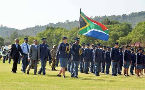 Police Minister Fikile Mbalula arriving at the welcoming parade at the SAPS training college in Pretoria West. Picture: Twitter/@SAPoliceService.