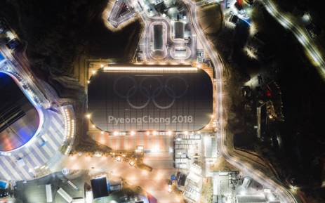 A general view shows the Olympic rings on the roof of the skating venue of the 2018 Pyeongchang winter Olympics in Gangneung on 3 February 2018. Picture: AFP