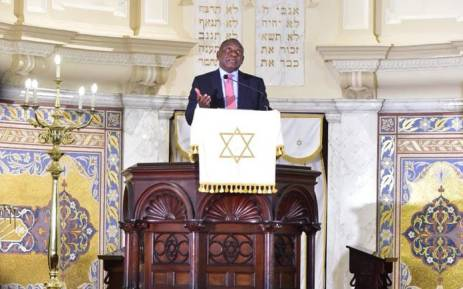 President Cyril Ramaphosa addressing the Jewish community's New Year's prayers held at the Gardens Synagogue in Cape Town on 12 September 2018. Picture: @PresidencyZA/Twitter