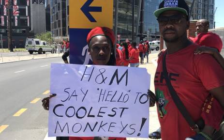 A number of EFF supporters protested at the V&A Waterfront's H&M store saying the retail giant's latest ad portraying a black boy wearing a sweater with the word 'coolest monkey in the jungle' goes against transformation efforts in the country. Picture: Kevin Brandt/EWN