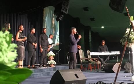 Former Idols SA winner Karabo Mogane has paid tribute to the late music producer Robbie Malinga at his funeral at the Rhema Bible Church. Picture: Mia Lindeque/EWN