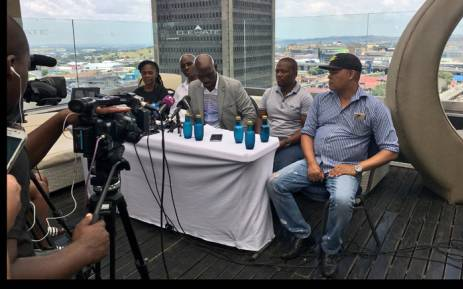 """Various organisations working under the slogan """"hands off President Zuma"""" addressing the media about their plans to march to Luthuli House on 5 February. Picture: Katleho Sekhotho/EWN."""