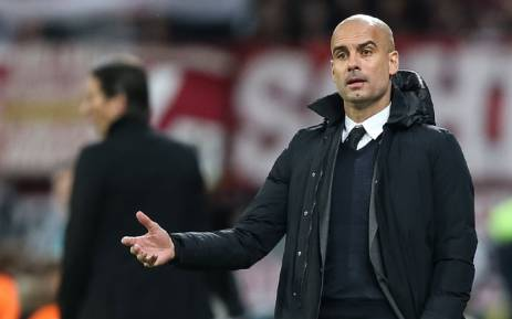 Munich's coach Pep Guardiola reacts during the Bundesliga soccer match between Bayer Leverkusen and Bayern Munich in the BayArena in Leverkusen, Germany, 06 February 2016.