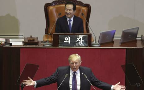 FILE: US President Donald Trump (C) addresses the National Assembly in Seoul on November 8, 2017. Picture: AFP