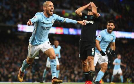 Manchester City's David Silva celebrates after scoring a goal. Picture: @21LVA/Twitter.